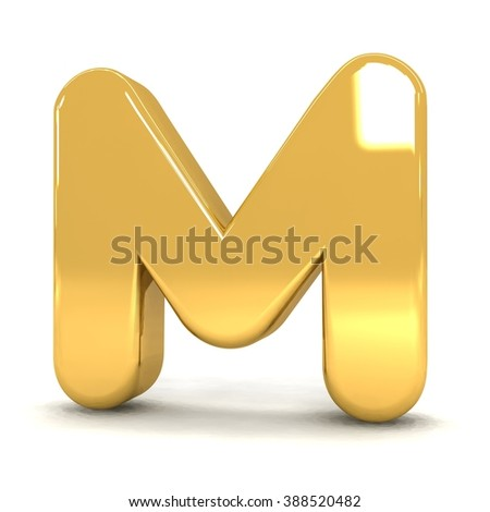 3d cute gold metal letter M with cartoon comic and business alphabet isolated white background shiny golden material rendering - stock photo