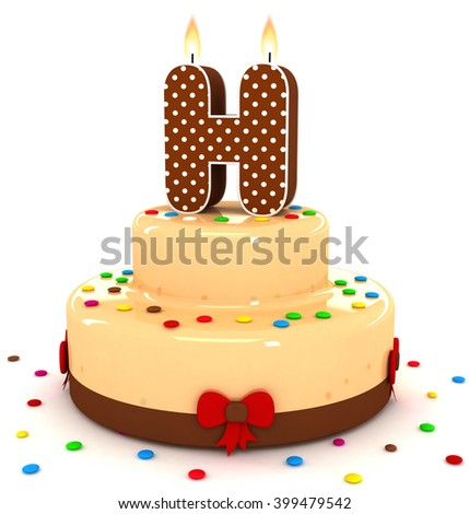 "3d cute letter ""H"" rendering colorful with chocolate birthday cake alphabet with sweet polka dot candle and decorate red ribbon isolated over white background"