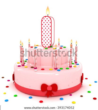 """3d cute letter """"I"""" i rendering colorful birthday cake alphabet with sweet candle and decorate ribbon  isolated over white background - stock photo"""