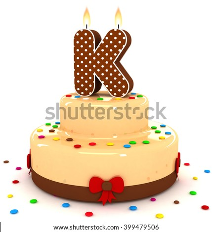 "3d cute letter ""K"" rendering colorful with chocolate birthday cake alphabet with sweet polka dot candle and decorate red ribbon isolated over white background"