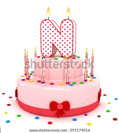 """3d cute letter """"N"""" rendering colorful birthday cake alphabet with sweet candle and decorate ribbon  isolated over white background - stock photo"""