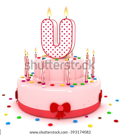 """3d cute letter """"U"""" rendering colorful birthday cake alphabet with sweet candle and decorate ribbon  isolated over white background - stock photo"""