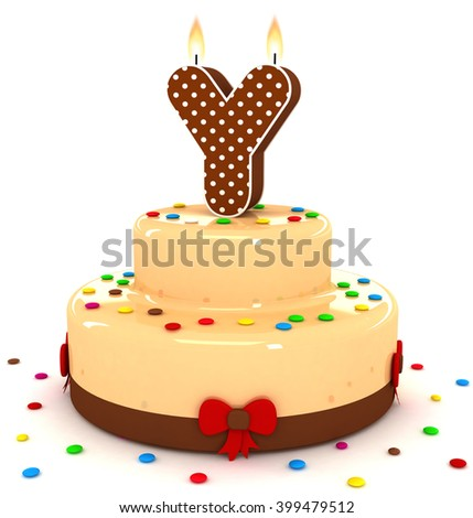 "3d cute letter ""Y"" rendering colorful with chocolate birthday cake alphabet with sweet polka dot candle and decorate red ribbon isolated over white background"