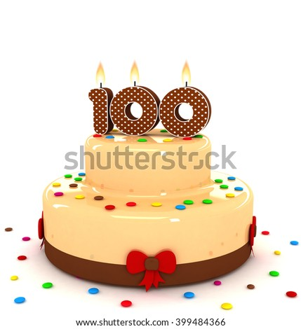 3d cute number one hundred 100 rendering colorful with chocolate birthday cake with sweet polka dot number year brown candle and decorate red ribbon isolated over white party background - stock photo