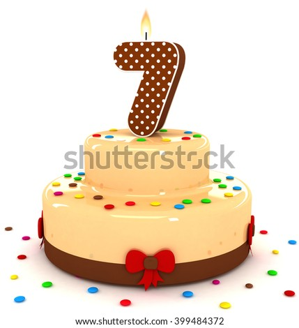 3d cute number 7 seven rendering colorful with chocolate birthday cake with sweet polka dot number year brown candle and decorate red ribbon isolated over white party background - stock photo