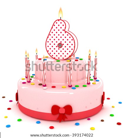 """3d cute number """"6"""" six rendering colorful birthday cake  year with sweet candle and decorate ribbon  isolated over white background - stock photo"""