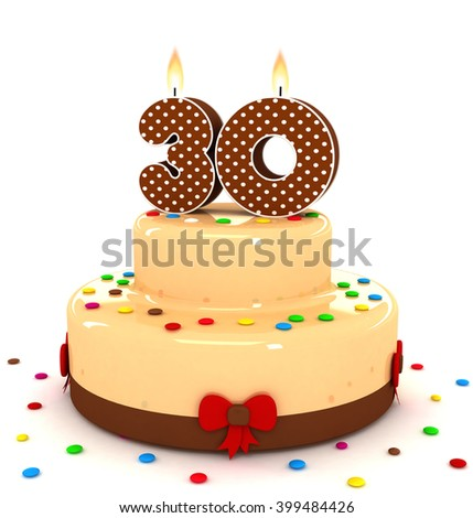 3d cute number 30 thirty rendering colorful with chocolate birthday cake with sweet polka dot number year brown candle and decorate red ribbon isolated over white party background - stock photo
