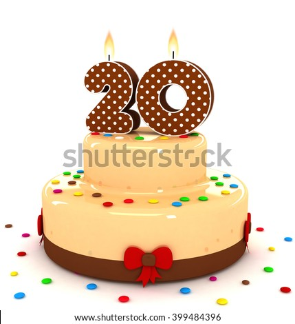 3d cute number 20 twenty rendering colorful with chocolate birthday cake with sweet polka dot number year brown candle and decorate red ribbon isolated over white party background - stock photo