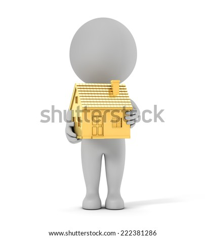 3d cute people - holding golden house isolated white background with clipping path - stock photo
