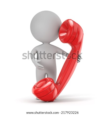 3d cute people - holding red retro phone isolated white background with clipping path - stock photo