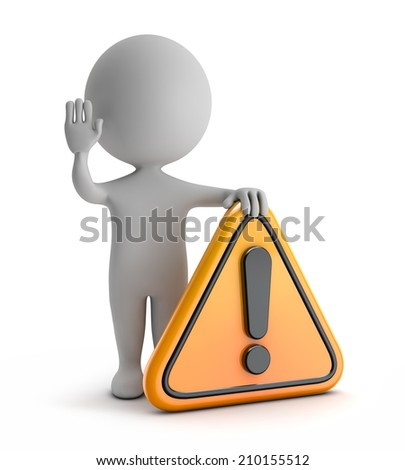 3d cute people - standing exclamation danger (warning) symbol isolated white background with clipping path - stock photo