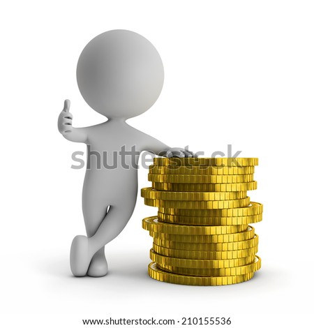3d cute people - standing with stack of gold coins (financial success) isolated white background - stock photo
