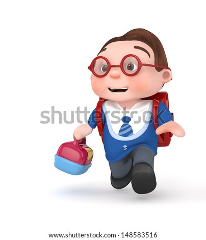 3d cute schoolboy running with school bag and lunchbox - 3d rendered isolated - stock photo