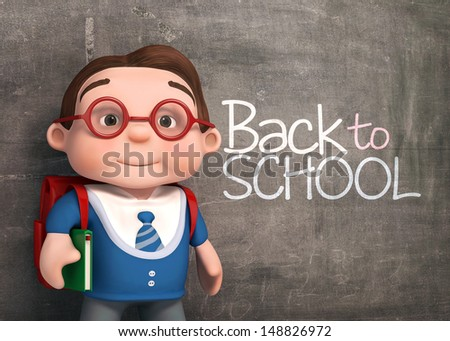 3d cute schoolboy with blackboard background - stock photo
