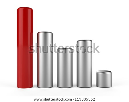 3D cylinder bar chart... 3D business info graphic bar... - stock photo