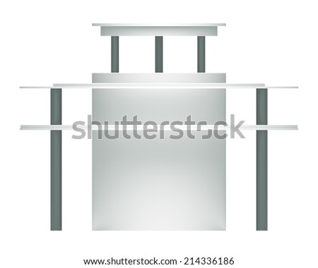 3D Cylindrical Display shelves and shelf on a white background. Isolated - stock photo