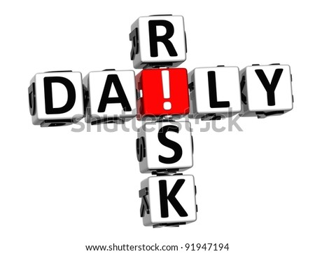 3D Daily Risk Crossword on white background - stock photo