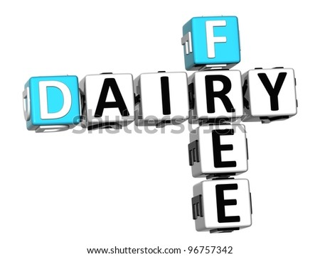 3D Dairy Free Crossword cube words on white background - stock photo