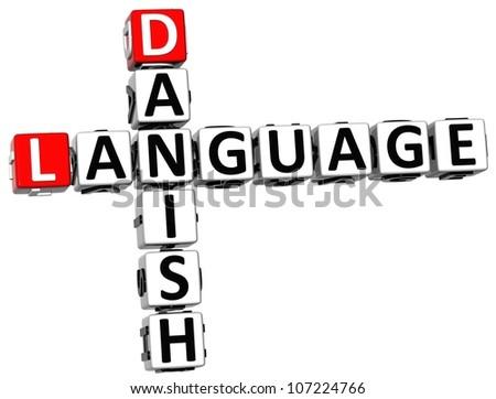 3D Danish Language Crossword on white background - stock photo
