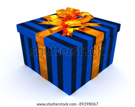 3D dark blue Gift cristmas box on the white - stock photo