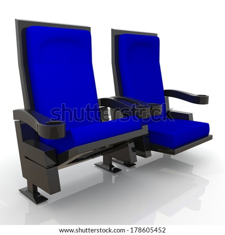 3d dark blue theater seats in isolated background with clipping paths, work paths  - stock photo