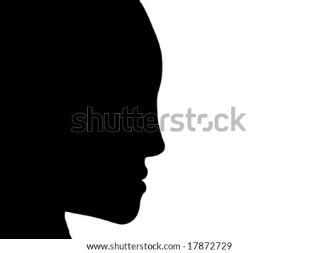 3D dark face portrait with copy space, isolated on white.