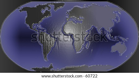 3D Dark nighttime map of the World - stock photo