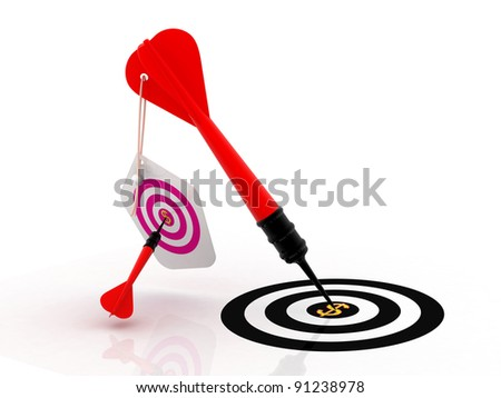 3d darts on the target with dollar sign