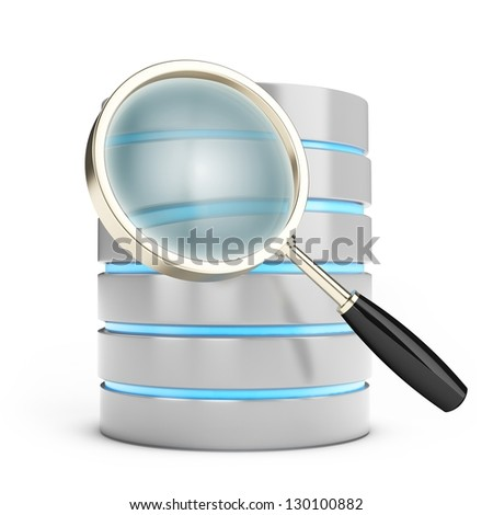 3d database searching with magnifying glass on white background - stock photo