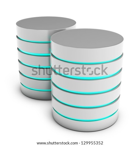 3d database servers on white background