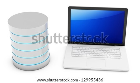 3d database with mobile laptop on white background - stock photo