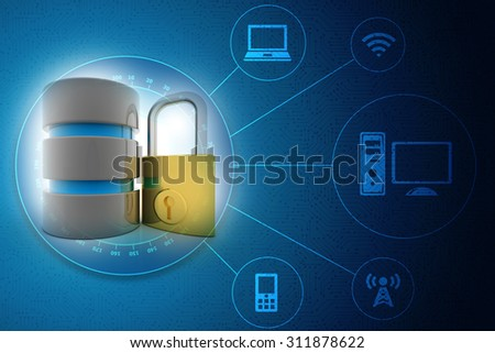 3d database with padlock security concept - stock photo