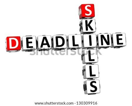 3D Deadline Skills Crossword on white background - stock photo