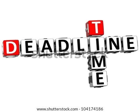 3D Deadline Time Crossword on white background - stock photo