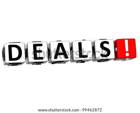 3D Deals Block Text  on white background - stock photo