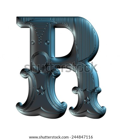 3D Decorative Alphabet R on white background. - stock photo