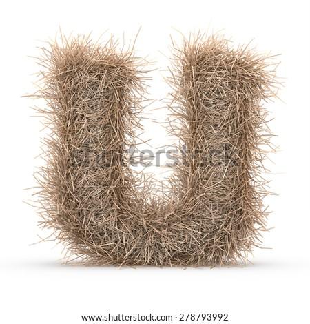 3d decorative nature letter U - stock photo
