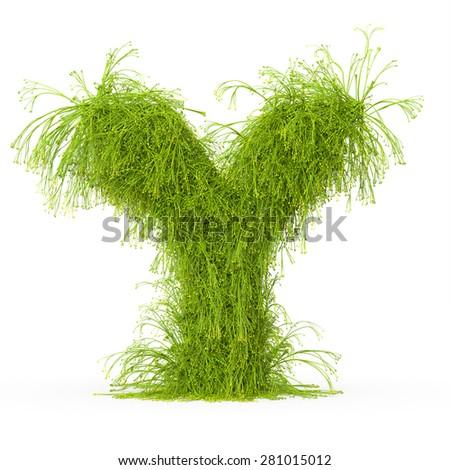 3d decorative nature letter Y - stock photo