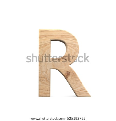 3D decorative wooden Alphabet, capital letter R