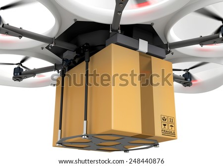 3d delivery drone with a package on white background - stock photo