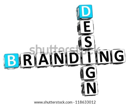 3D Design Branding Crossword on white background