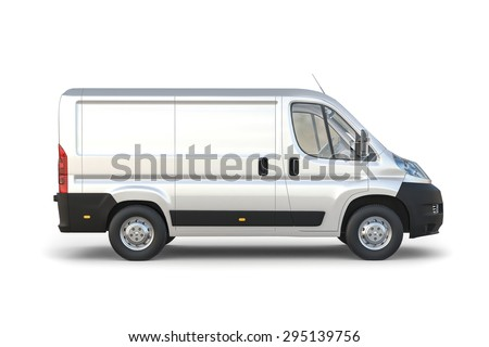 3D design van image with blank background - stock photo