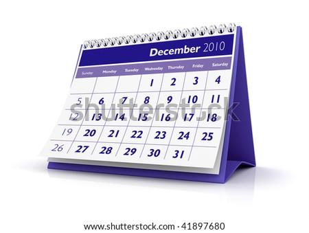 3D desktop calendar December 2010 in white background - stock photo