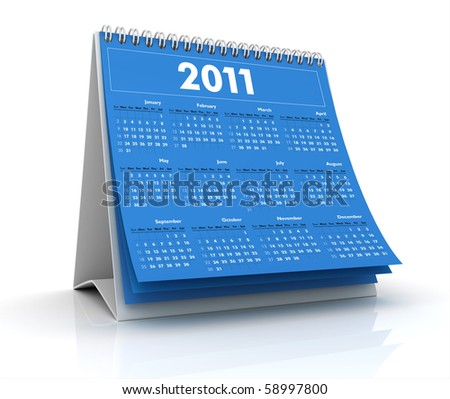 3D desktop calendar 2011 in white background - stock photo