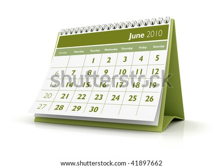 3D desktop calendar June 2010 in white background - stock photo