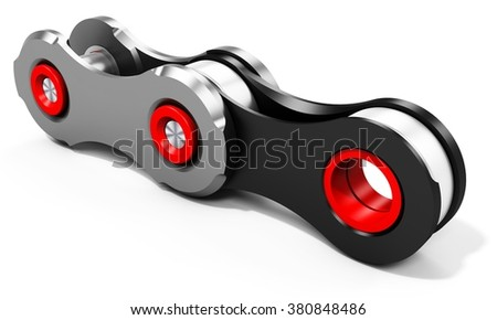 3d detailed bike chain links on white background