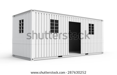 3d  detailed container house on white background - stock photo