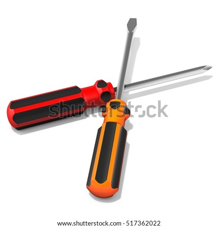 3d detailed  screwdrivers on white background 3D illustration