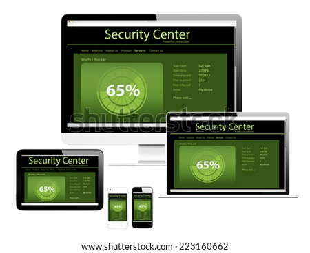 3D Devices with Virus Protection  - stock photo