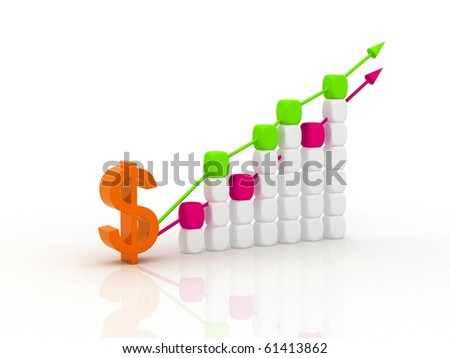 3d diagram showing rise in profit or earnings - stock photo